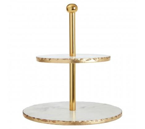 Two Tier White Marble Cake Stand