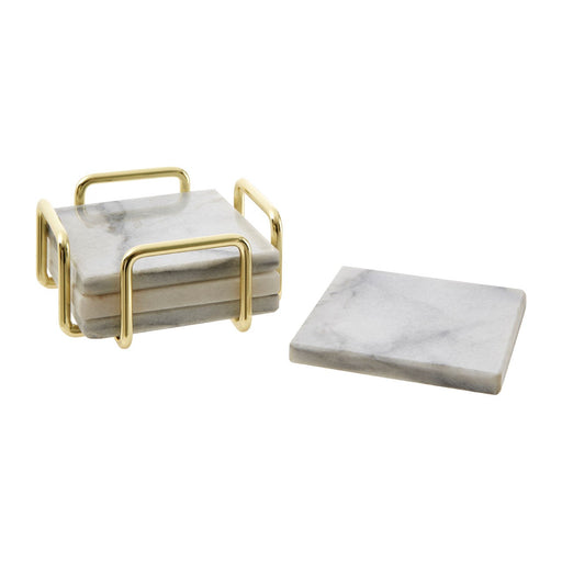 White square coaster in brass finished holder