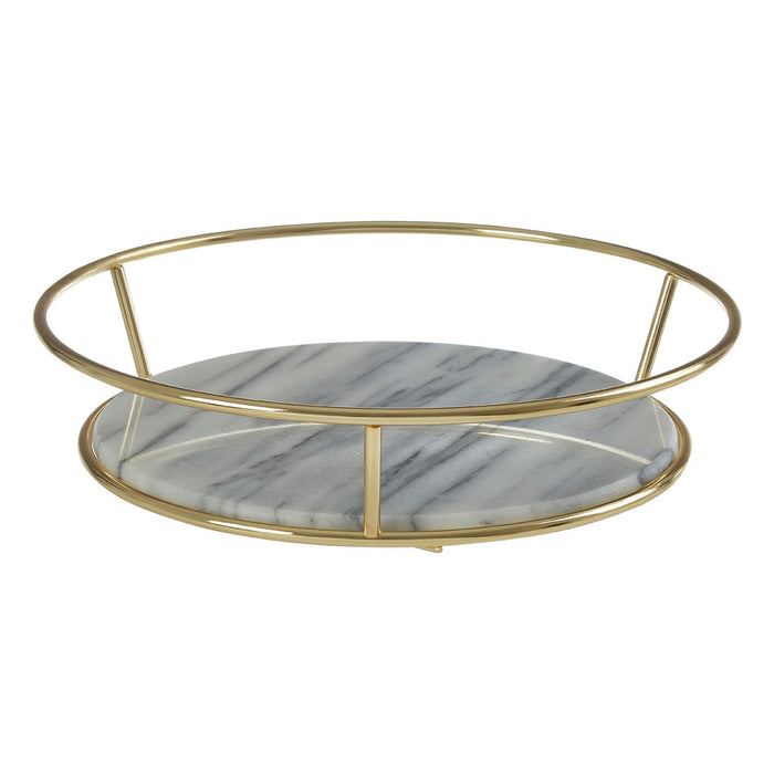 Marble base fruit basket with gold