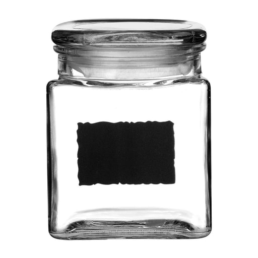 Airtight glass jar with chalk label