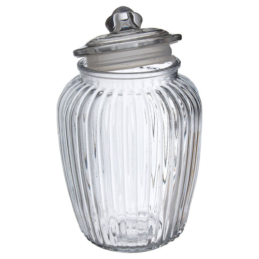 Vintage Style Glass Storage Ribbed Jar With Airtight Seal