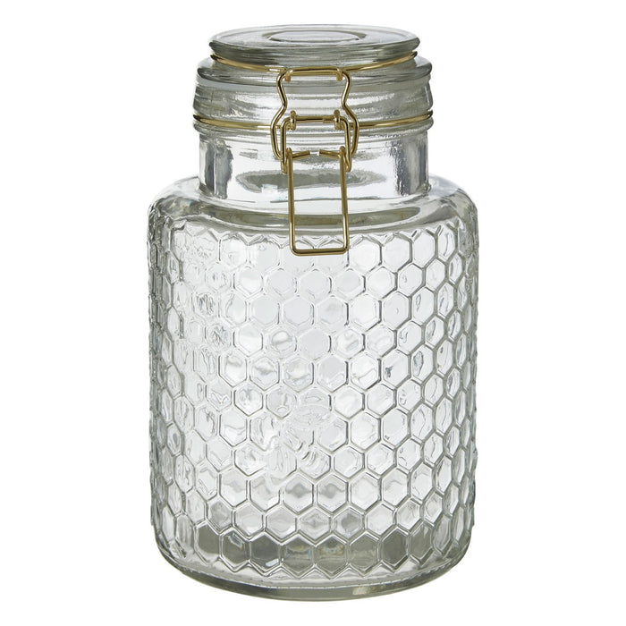 The Honeycomb Gold Wire Glass Jar Small