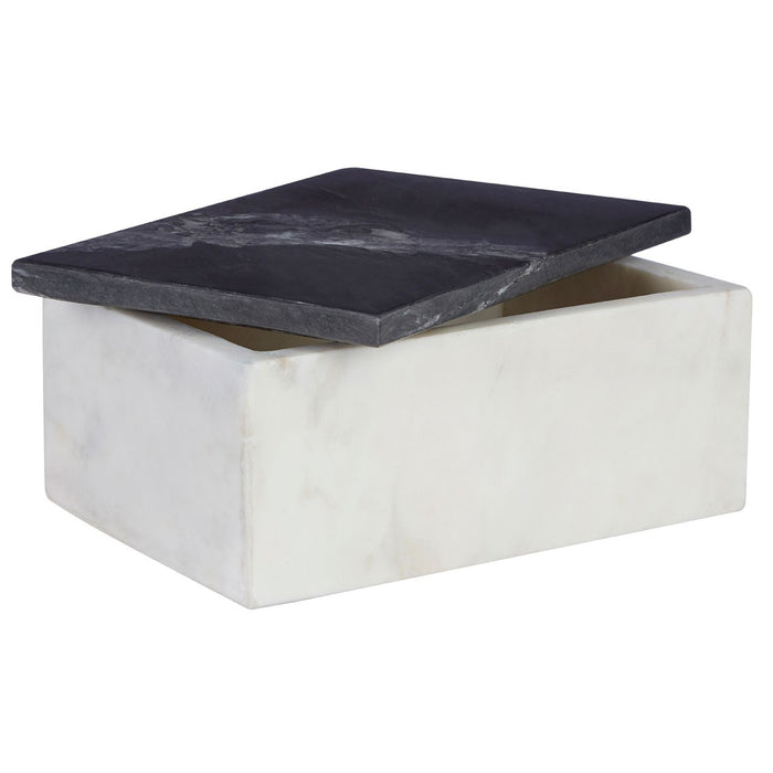 Rectangular White Marble Trinket Box With Black Marble Lid