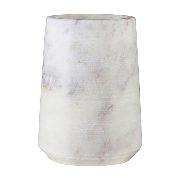 White marble tumbler/toothbrush holder