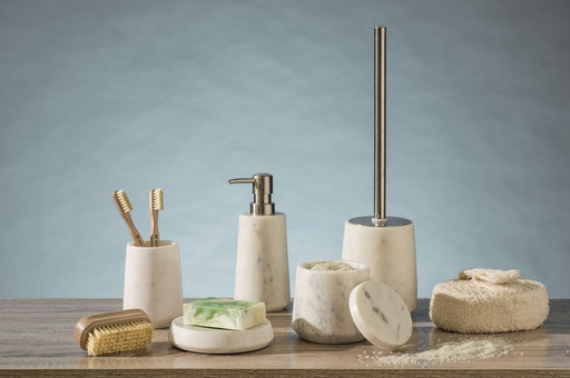 Natural marble bathroom accessory set
