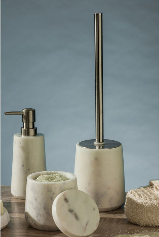 White marble toilet brush with a chrome handle, complimented with matching dispenser and jar