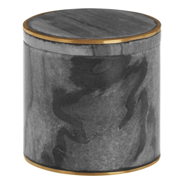 Black & Brass Agra Marble Cotton Jar | Bath Salts Jar