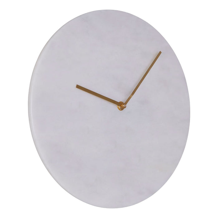 White Marble Wall Clock with Gold Hands