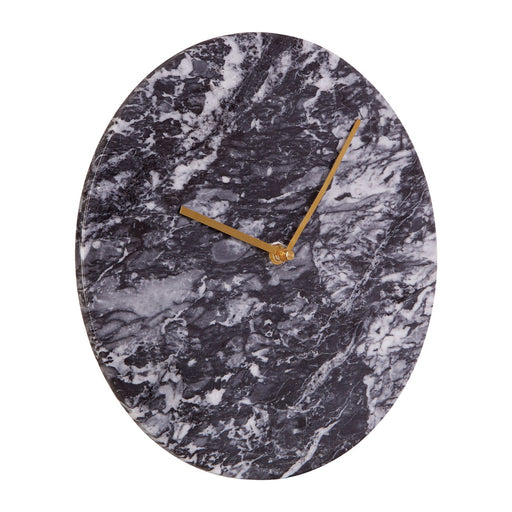 Black Marble Wall Clock with Gold Hands