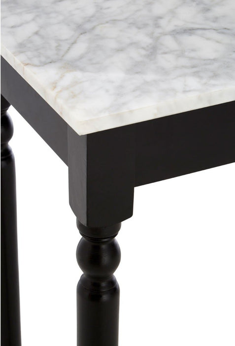 Console table with white marble top and black wooden legs