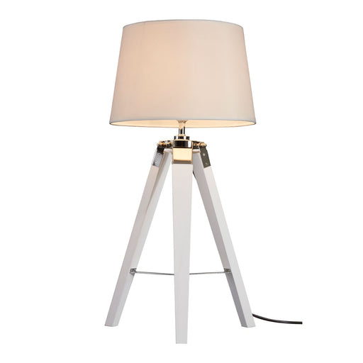 Tripod table Lamp with cream shade in white