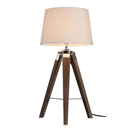 Tripod table Lamp with cream shade in natural wooden grain