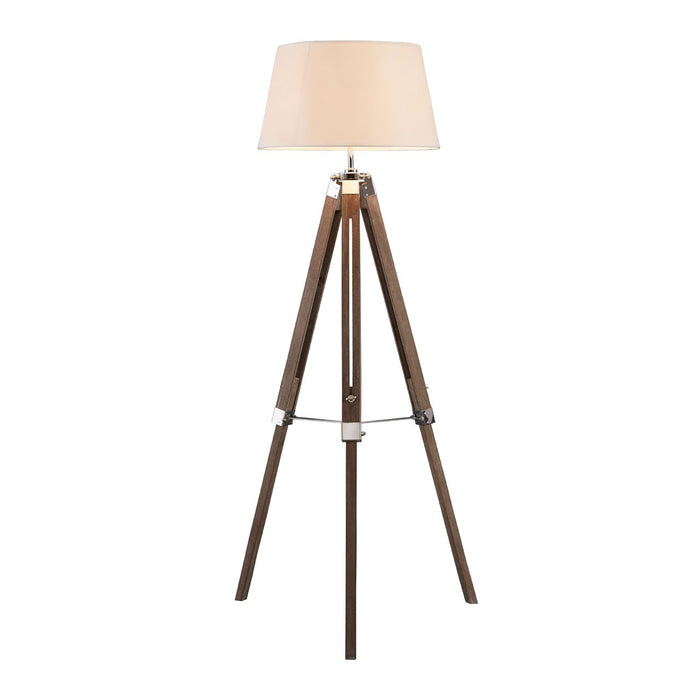 Tripod adjustable floor lamp natural wood