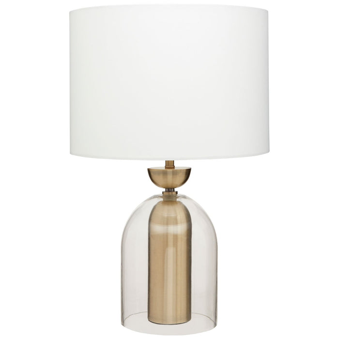 Clear glass and brass core table lamp