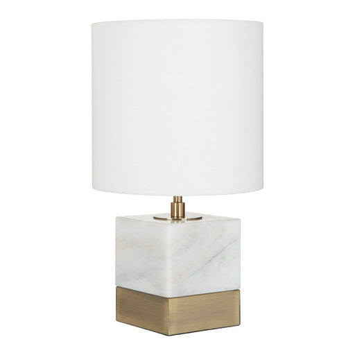 Marble based table lamp with brass accents