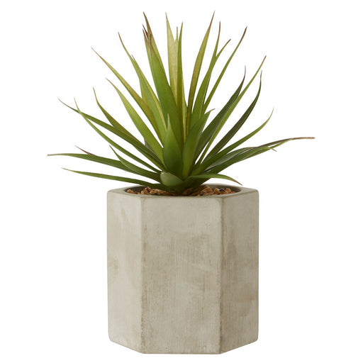 Faux sword grass in a hex concrete base