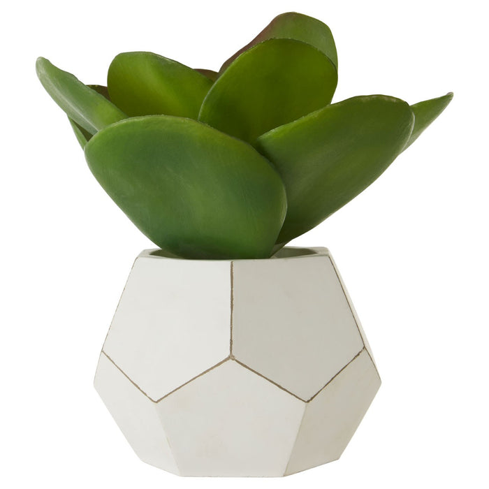 Faux Succulent Plant In White Geometric Pot