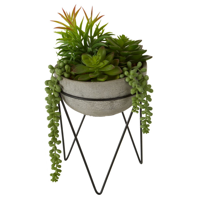 Faux Mixed Succulant On Stand