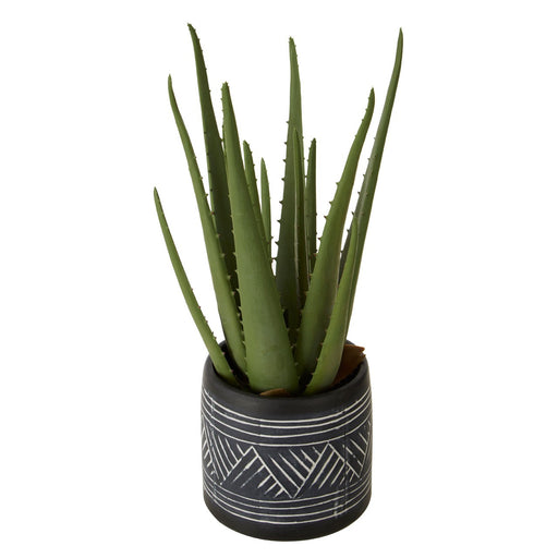 Faux Aloe Vera Plant In Rounded Tribal Pot