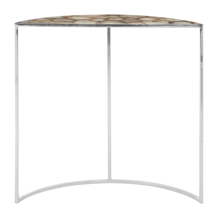 Agate half moon console table with chrome frame