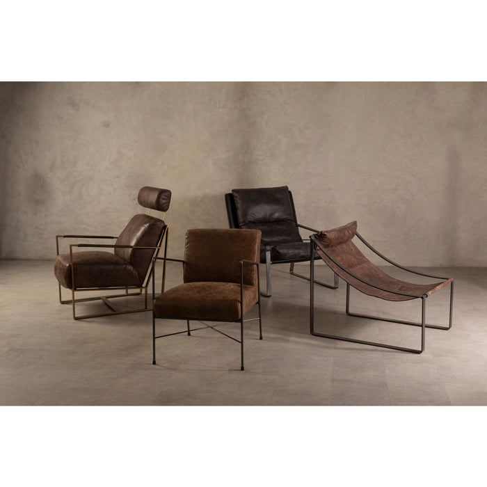 Light Brown Leather & Iron Chair