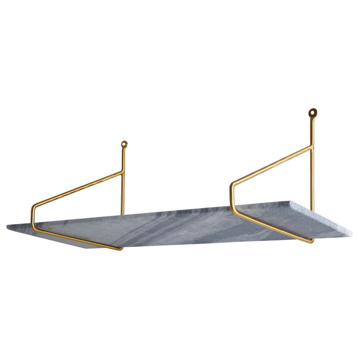 Grey Marble Shelf With Golden Brackets