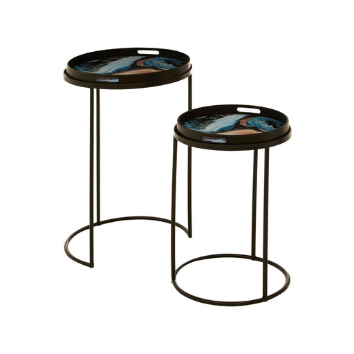Art Deco Round Nesting Tables With Removable Tray