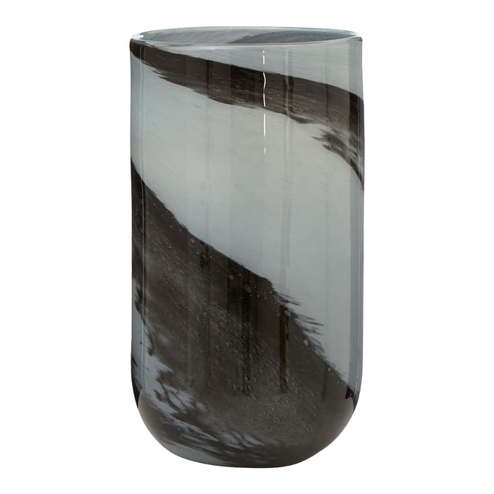 Feathered Grey Glass Vase
