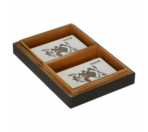 Black Wooden Games Cards And Card Box
