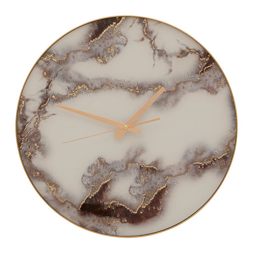Grey & Gold Marble Wall Clock