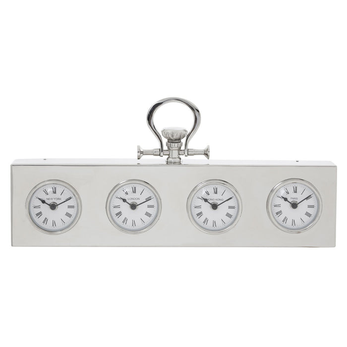 Hampstead Multi Time Zone Clock - Nickel