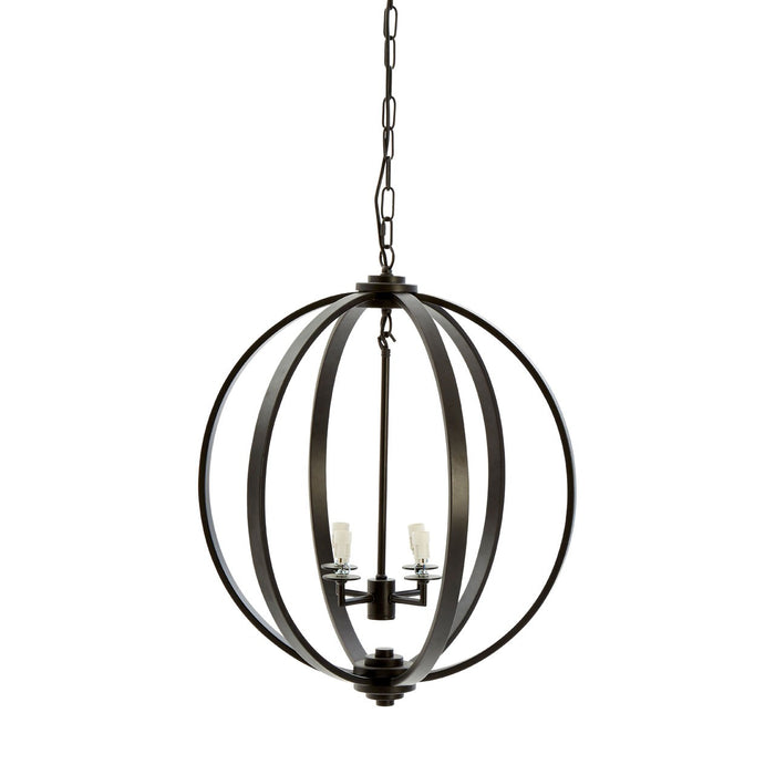 Spherical Black Metal Pendant Light