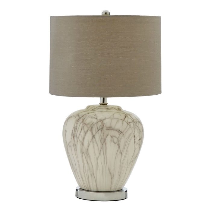 Ceramic lamp with a textured finish completed with a natural fabric shade
