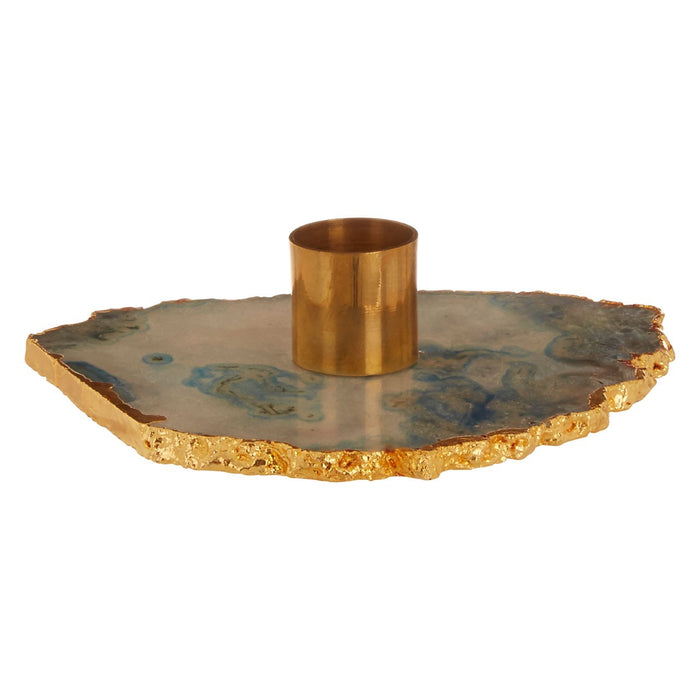 Grey & Gold Agate Candle Holder