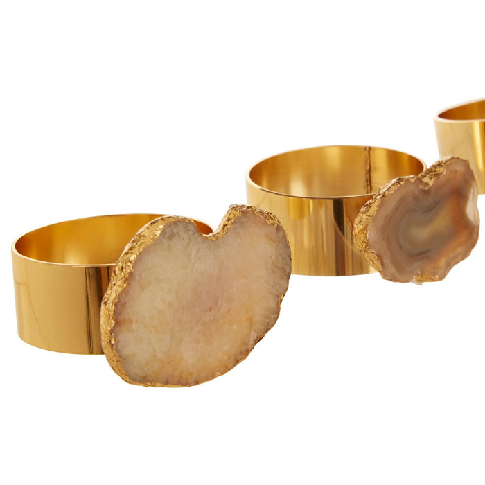 Natural & Gold Agate Napkin Rings