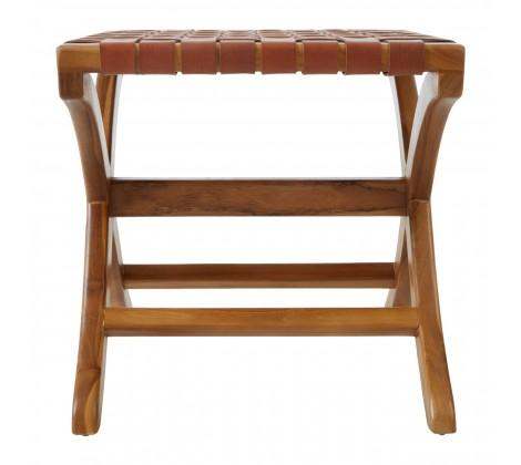 Brown Leather & Wood Stool