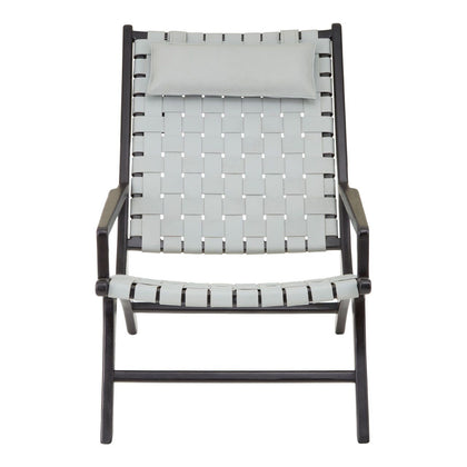 White Woven Leather Chair