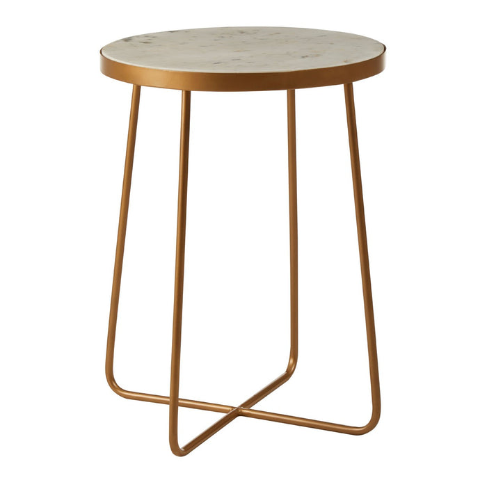 Cross Based Side Table with a white marble top and golden legs