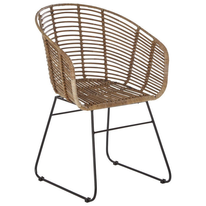 Kubu Curved Boho Rattan Chair With Black Frame