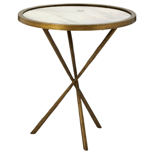 antiqued brass table with criss crossed legs and a weathered mirror top