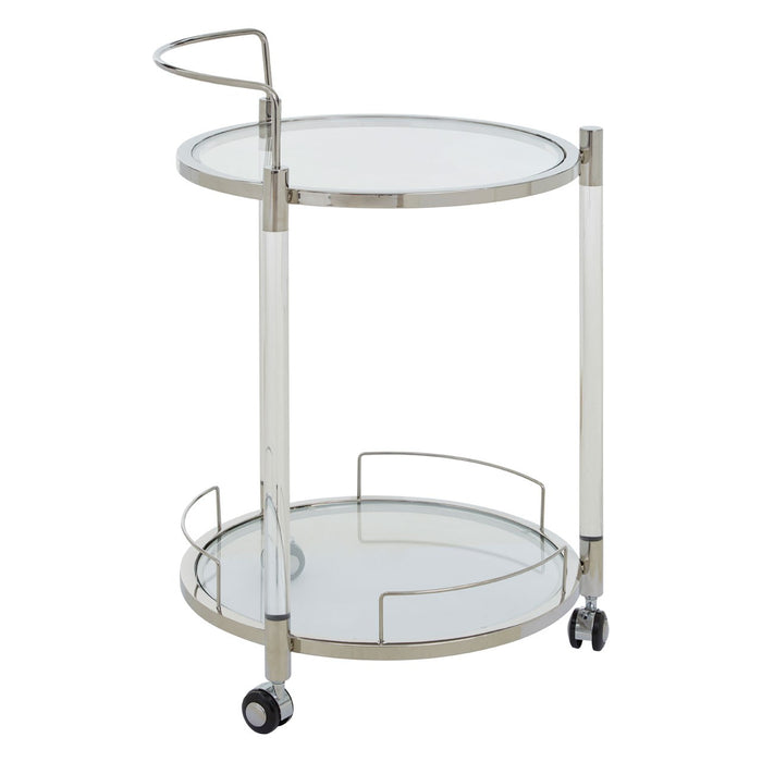 Chrome acrylic and steel 2 tiered drinks trolley