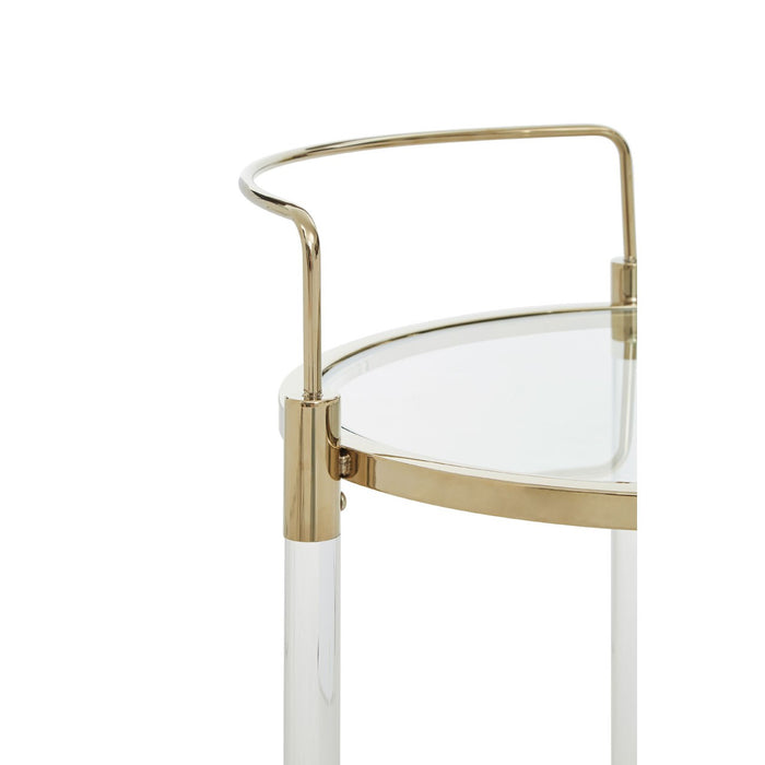 Gold acrylic and steel 2 tiered drinks trolley