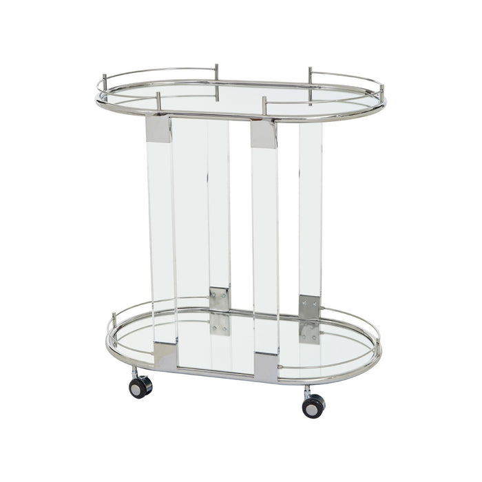 Chrome Oval Two Tier Serving Trolley