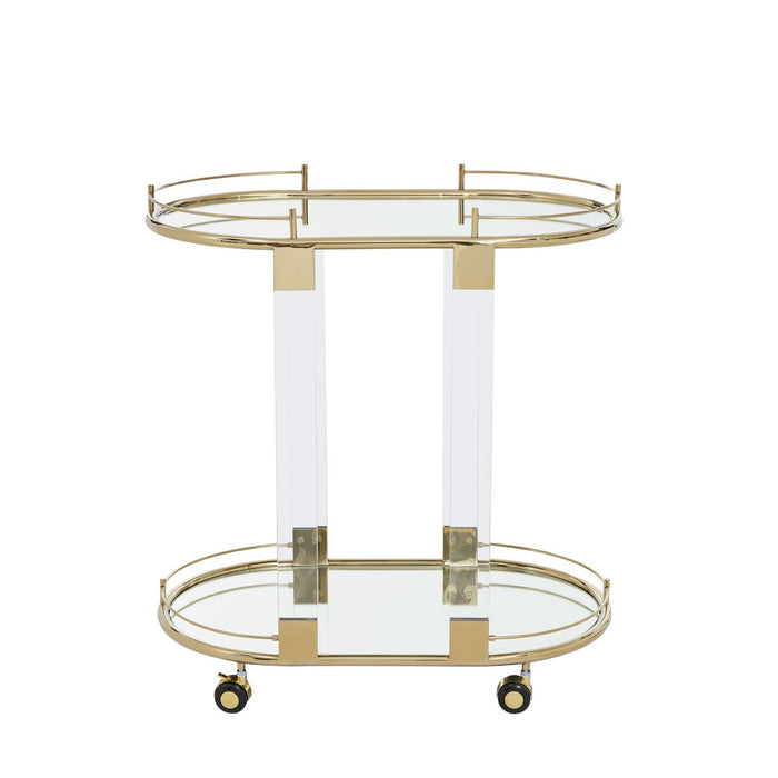 Gold Oval Two Tier Serving Trolley