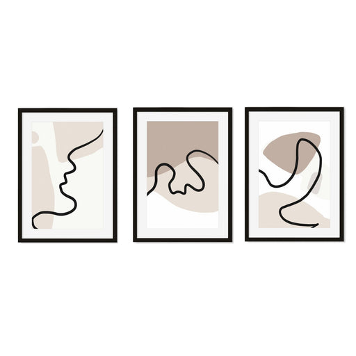 Neutral Abstract Art Print Set of 3 Black Frame