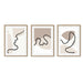 Neutral Abstract Art Print Set of 3 Oak Frame