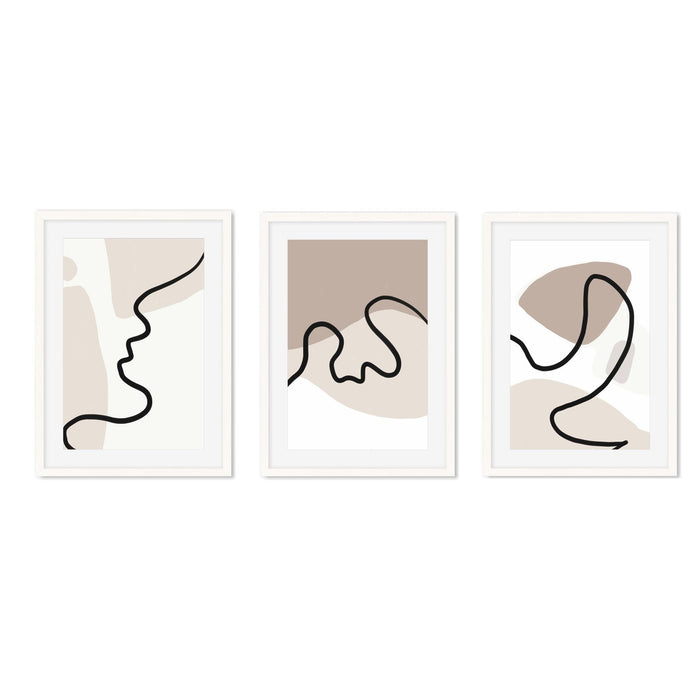 Neutral Abstract Art Print Set of 3 White Frame