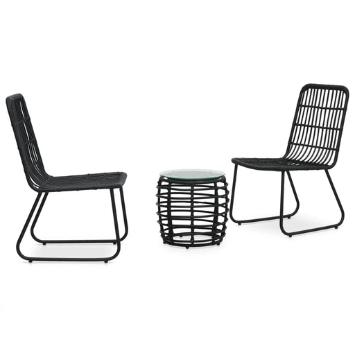 Three Piece Black Rattan Table And Chair Set