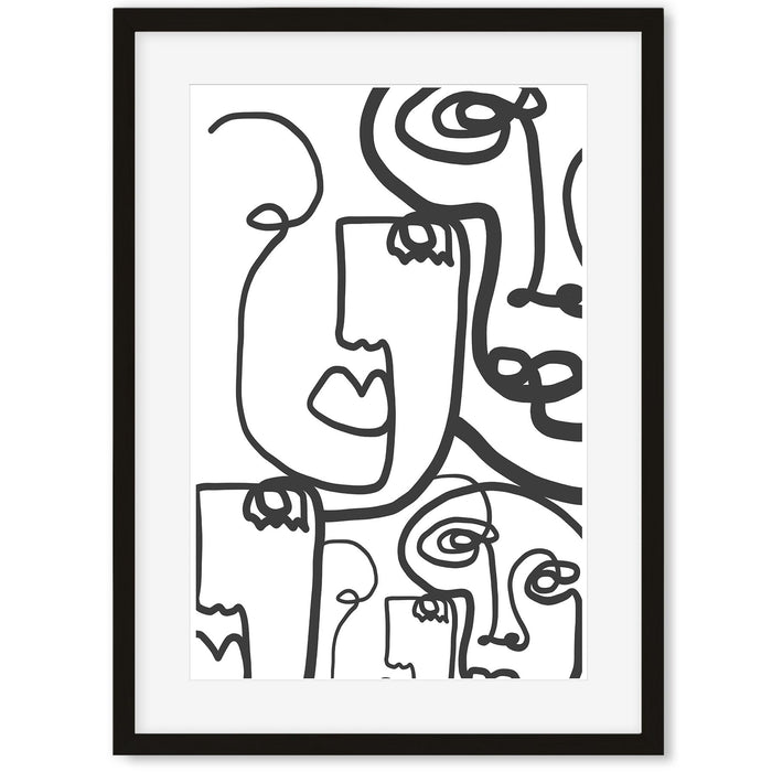 Line Faces Art Print Black Frame