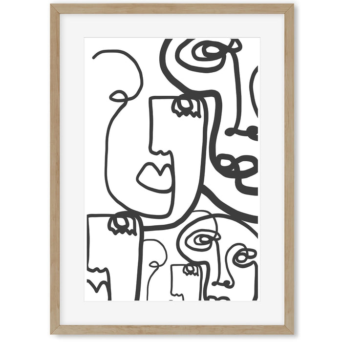 Line Faces Art Print Oak Frame